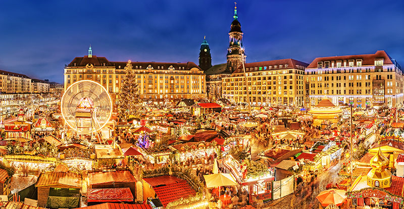 Dresden Christmas market, view from above, Germany, Europe. Chri